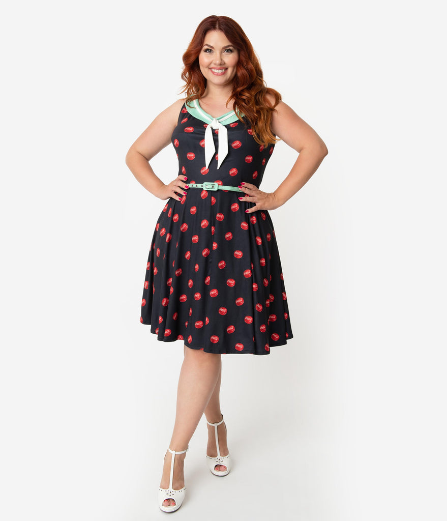 Coca-Cola Collection By Unique Vintage Plus Size 1950s Style Black & Red  Bottle Cap Print Pop! Fit & Flare Dress