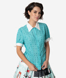 Coca-Cola Collection by Unique Vintage Retro Style Teal Star Print Atomic Blouse