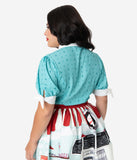 Coca-Cola Collection by Unique Vintage Plus Size Retro Style Teal Star Print Atomic Blouse