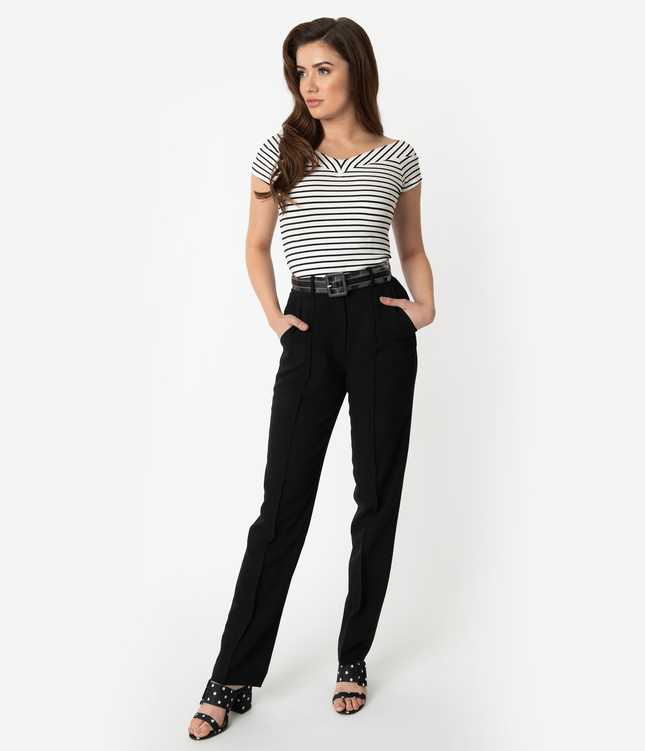 Vintage High Waisted Trousers, Sailor Pants, Jeans Vintage Style Black Woven High Waist Belted Ash Pants $62.00 AT vintagedancer.com
