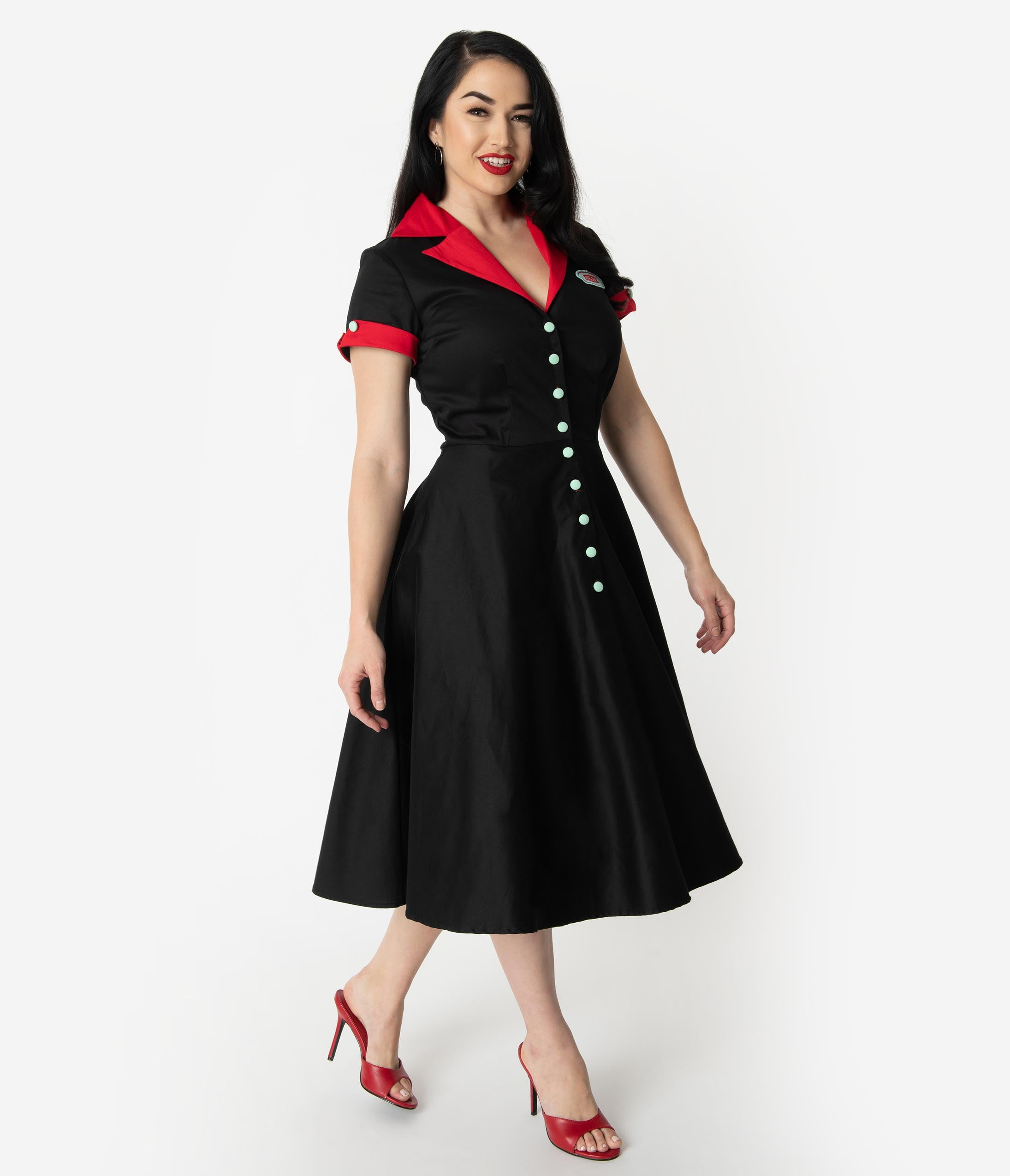 1950s Dresses, 50s Dresses | 1950s Style Dresses Coca-Cola Collection By Unique Vintage 1950S Black  Red Fizzy Swing Diner Dress $118.00 AT vintagedancer.com