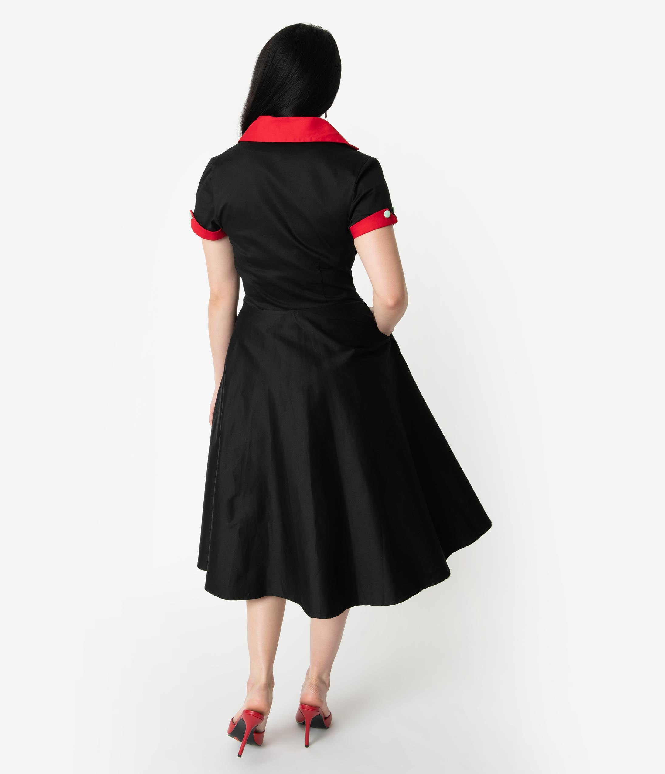 dce46894b994 Coca-Cola Collection by Unique Vintage 1950s Black & Red Fizzy Swing Diner  Dress