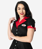 Coca-Cola Collection by Unique Vintage 1950s Black & Red Fizzy Swing Diner Dress