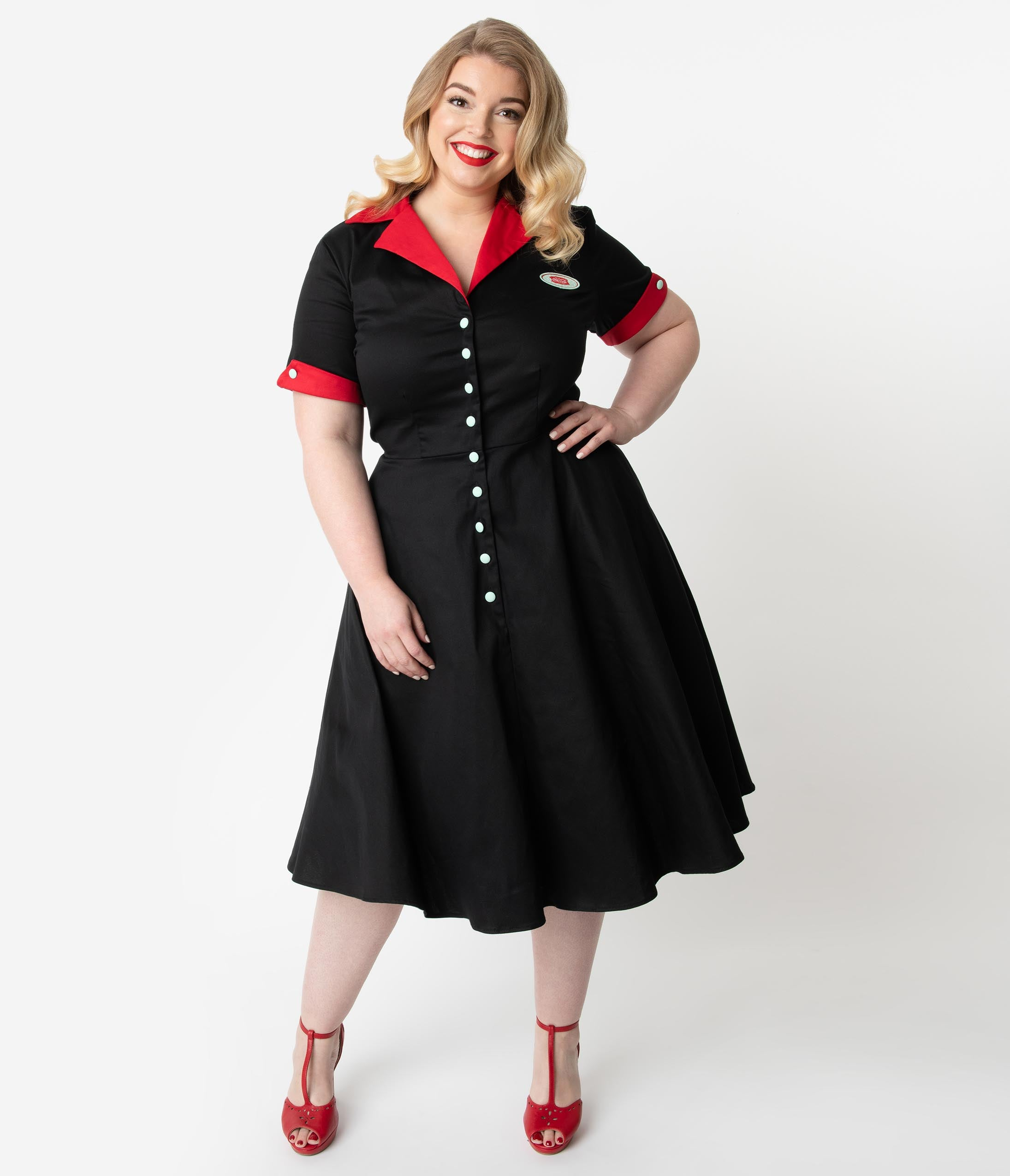 1950s Dresses, 50s Dresses | 1950s Style Dresses Coca-Cola Collection By Unique Vintage Plus Size 1950S Black  Red Fizzy Swing Diner Dress $118.00 AT vintagedancer.com