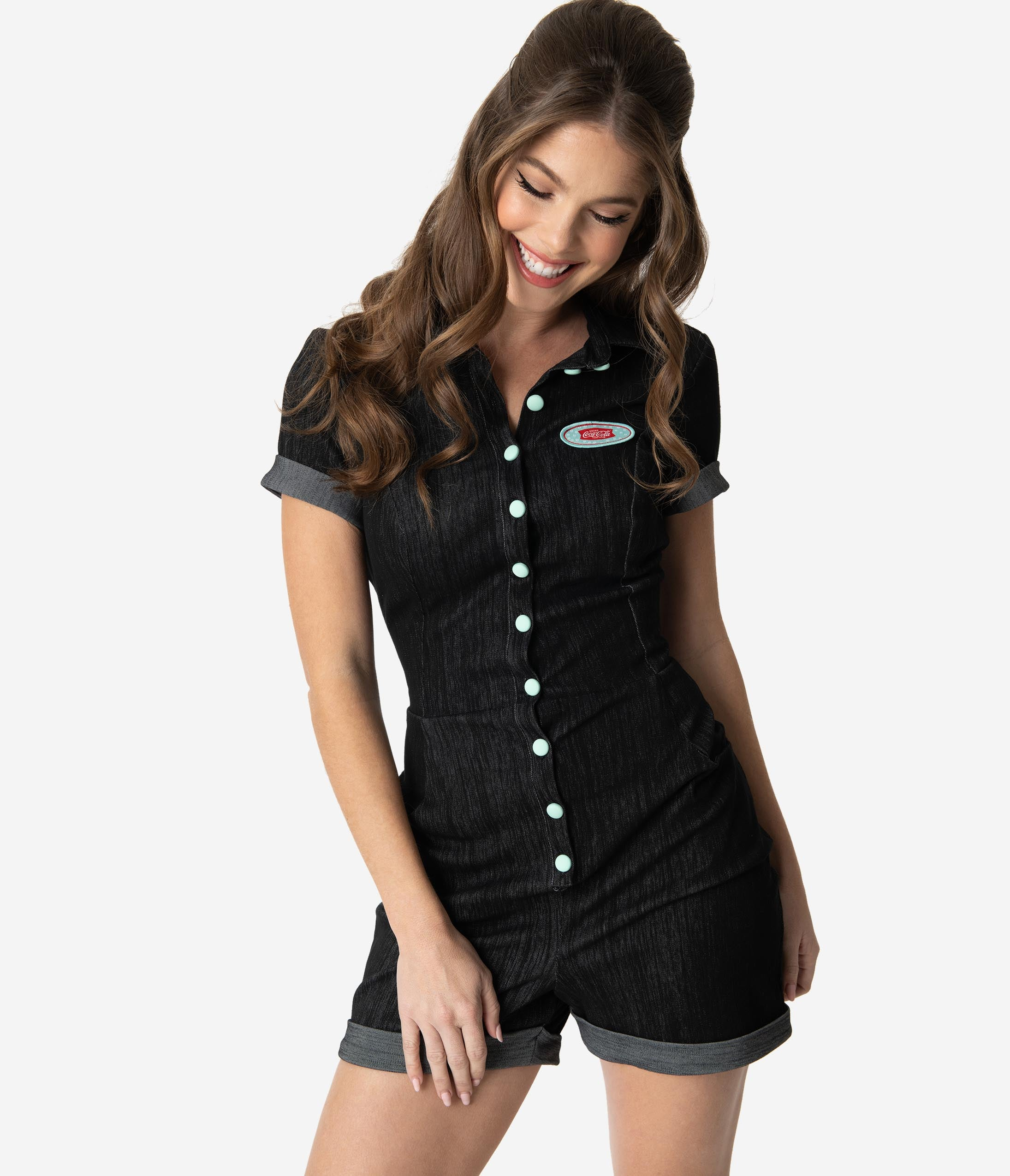 bb247e968053 Coca-Cola Collection by Unique Vintage Black Denim Stretch Sweetie Romper