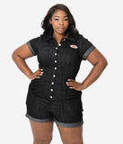 Coca-Cola Collection by Unique Vintage Plus Size Black Denim Stretch Sweetie Romper