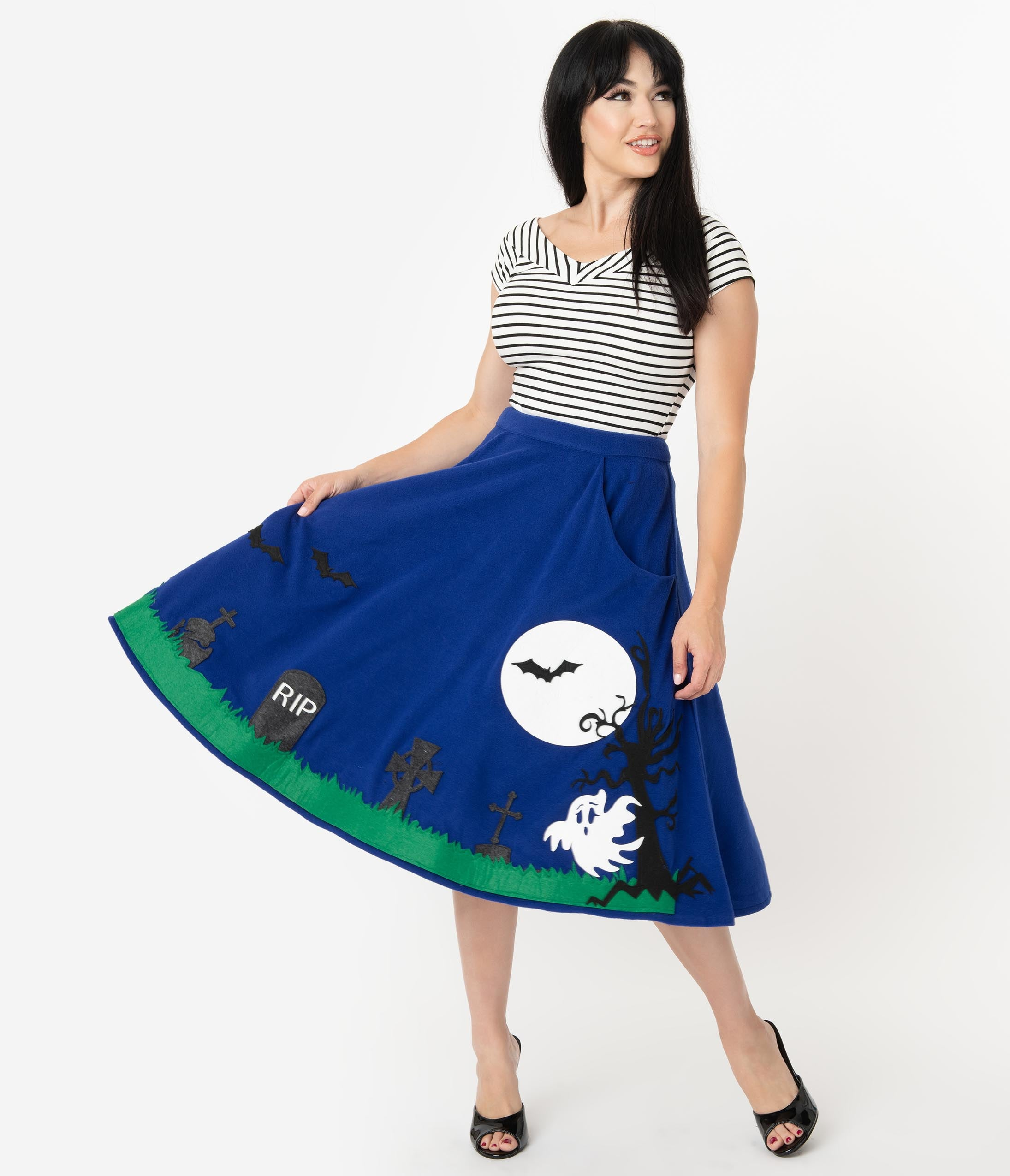1950s Swing Skirt, Poodle Skirt, Pencil Skirts Unique Vintage 1950S Blue Moonlit Graveyard Soda Shop Swing Skirt $78.00 AT vintagedancer.com