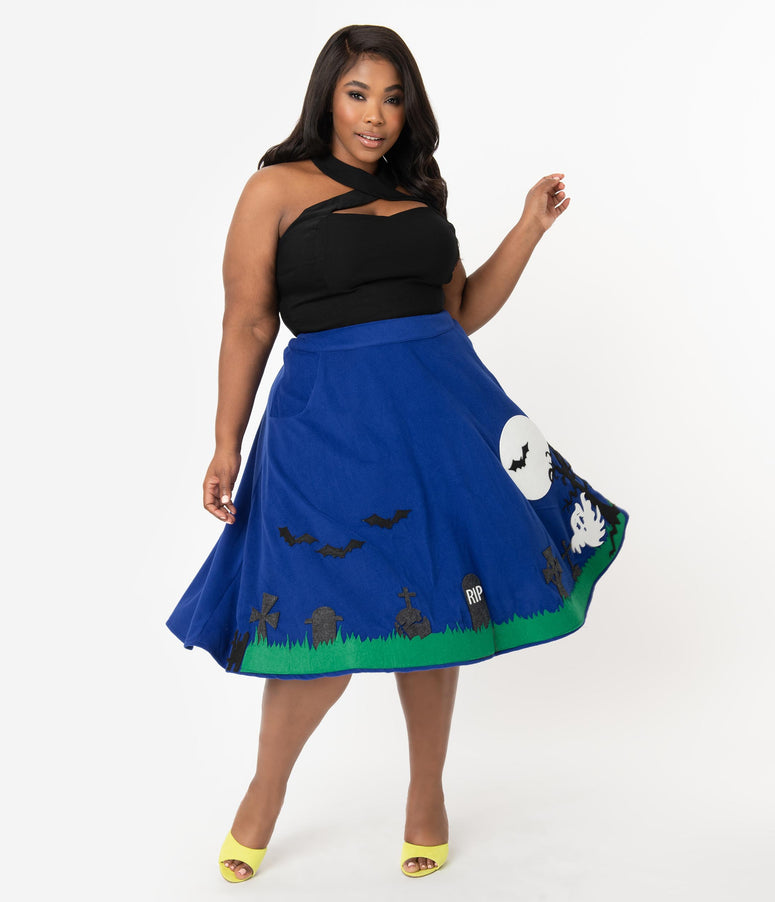 Unique Vintage Plus Size 1950s Blue Moonlit Graveyard Soda Shop Swing Skirt