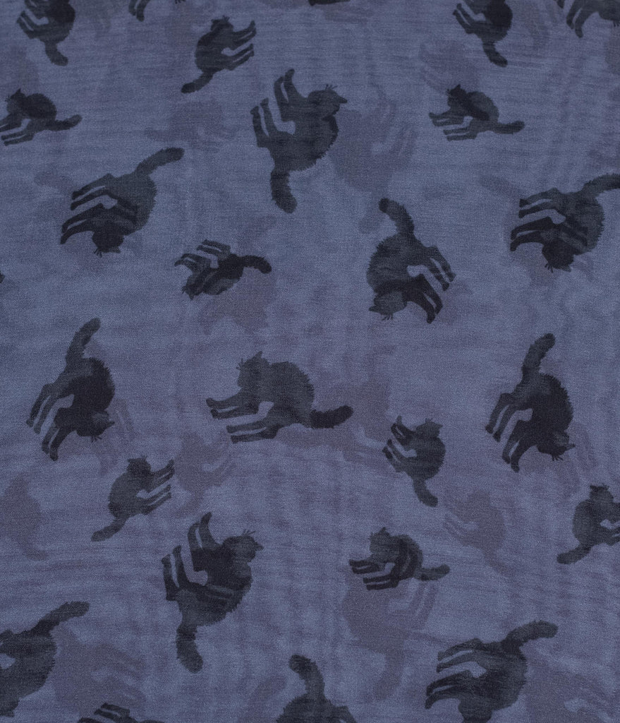 Unique Vintage Pin-Up Grey & Black Cat Print Chiffon Hair Scarf