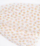 Unique Vintage Pin-Up Ivory Candy Corn Print Chiffon Hair Scarf