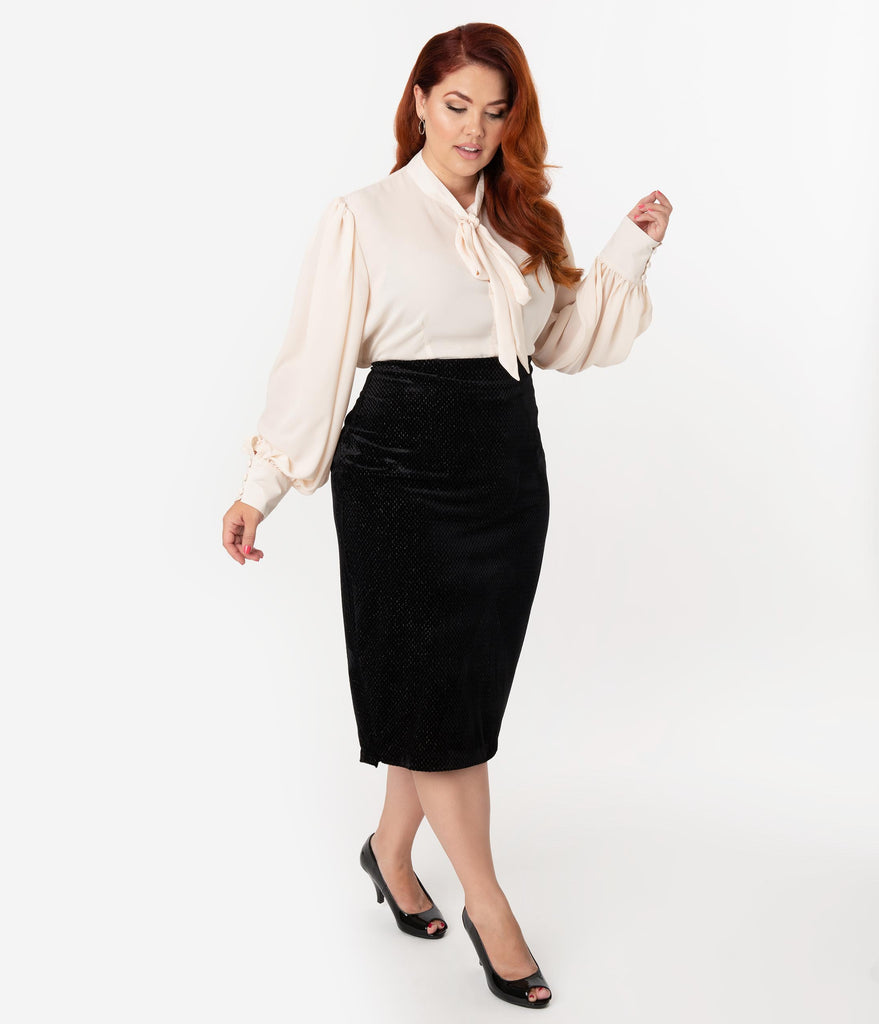 Unique Vintage Plus Size Black Embossed Velvet High Waist Tracy Wiggle Skirt