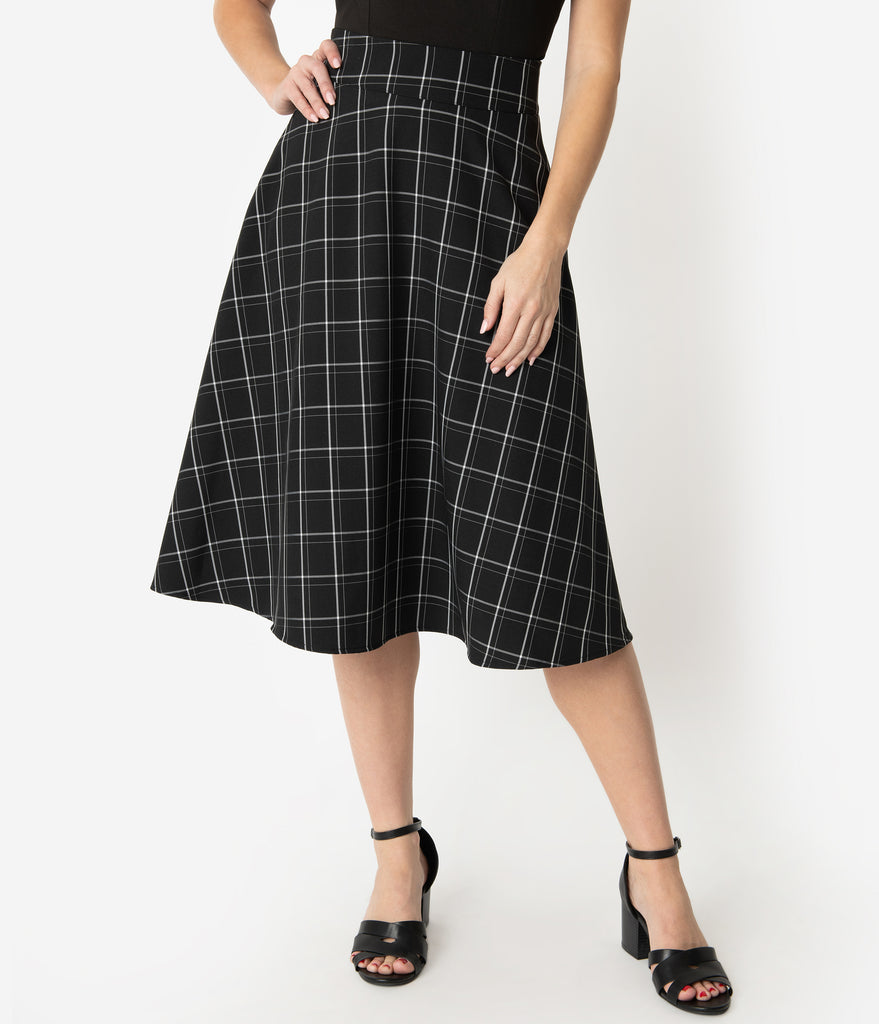 Unique Vintage Retro Style Black & White Windowpane High Waist Vivien Swing Skirt