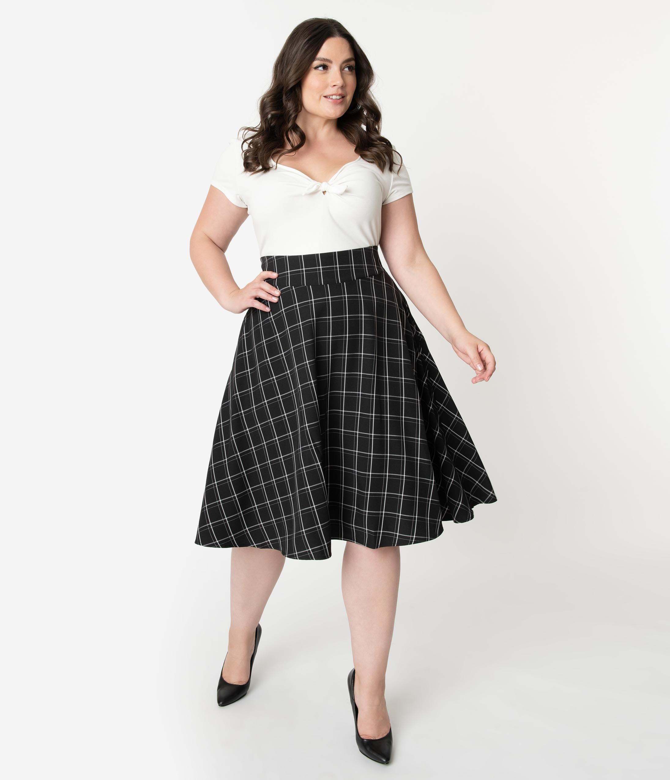 1940s Style Skirts- Vintage High Waisted Skirts Unique Vintage Plus Size Retro Style Black  White Windowpane High Waist Vivien Swing Skirt $58.00 AT vintagedancer.com