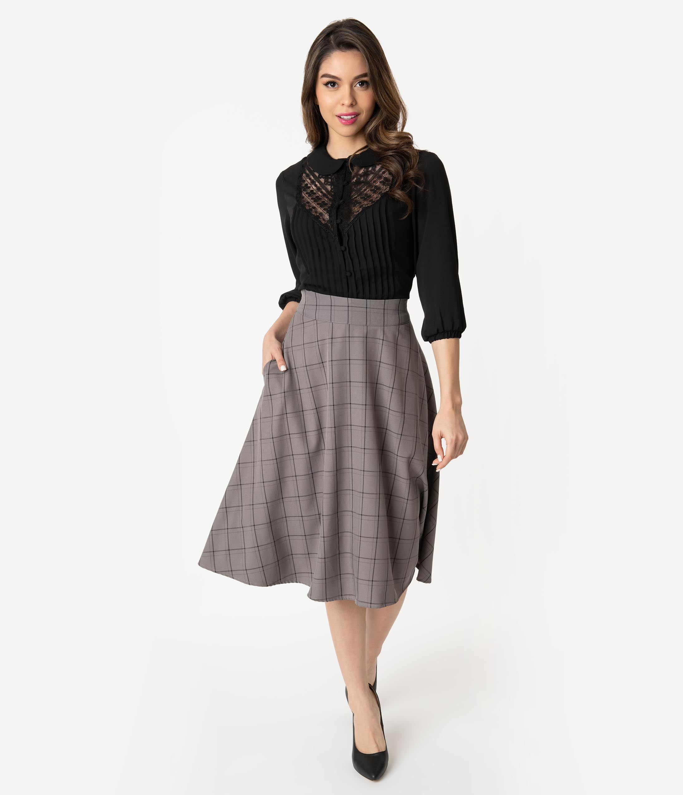 1940s Style Skirts- Vintage High Waisted Skirts Unique Vintage Retro Style Grey  Black Windowpane High Waist Vivien Swing Skirt $58.00 AT vintagedancer.com