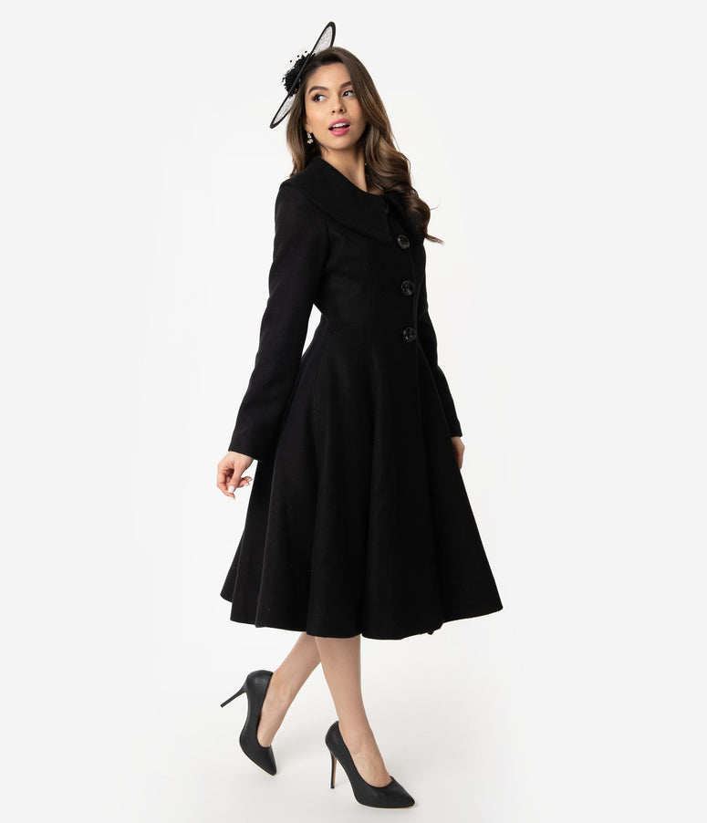Unique Vintage 1950s Style Black Collar Button Up Lillian Swing Coat