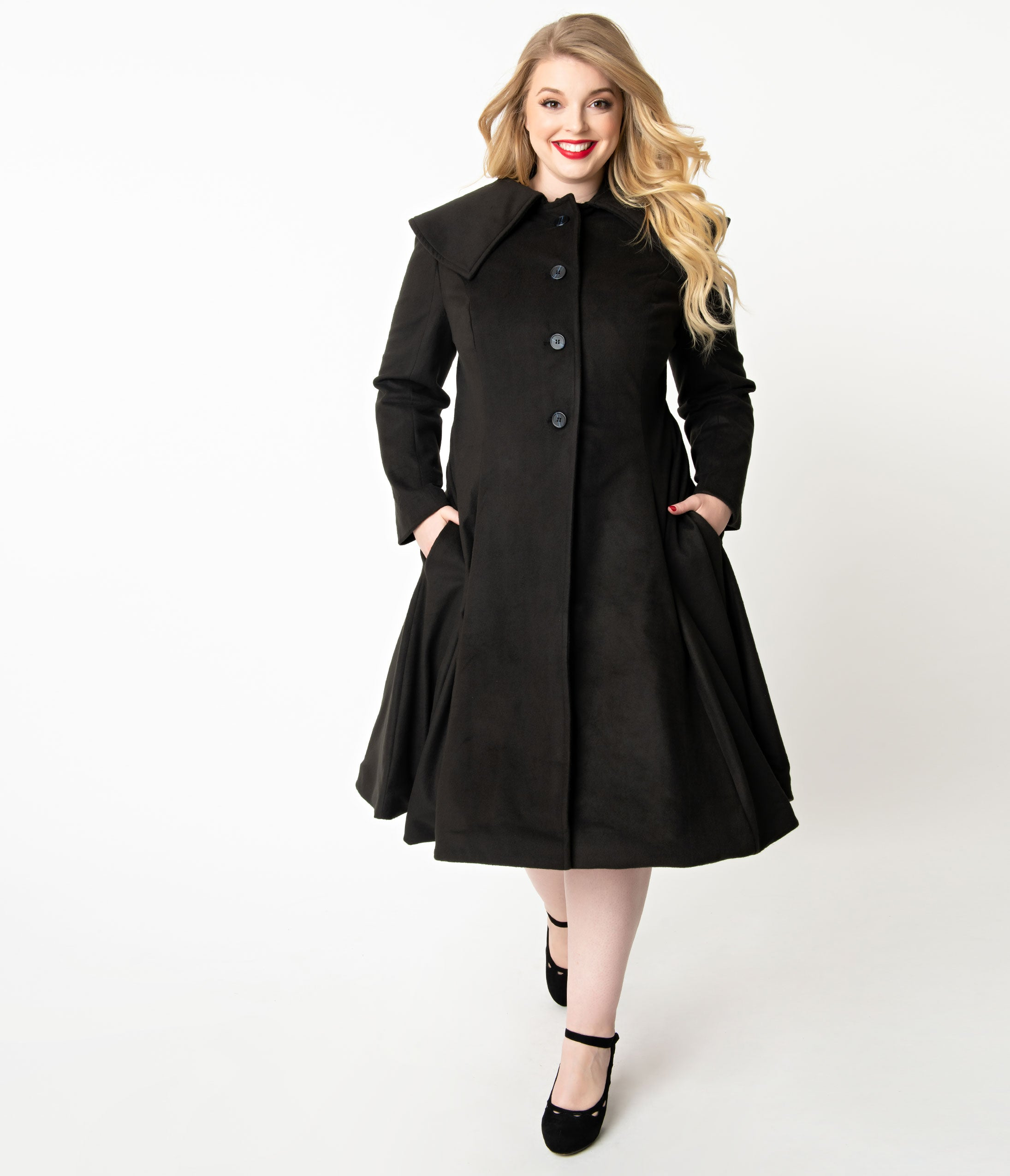 1940s Coats & Jackets Fashion History Unique Vintage Plus Size 1950S Style Black Collar Button Up Lillian Swing Coat $158.00 AT vintagedancer.com