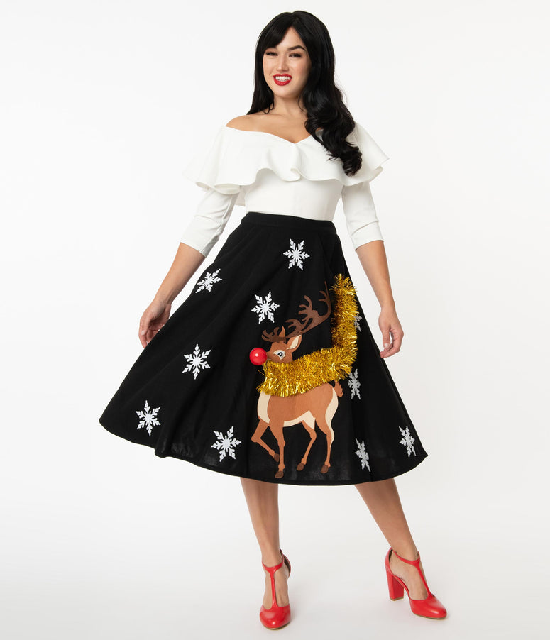 Unique Vintage 1950s Black & Red Nose Reindeer Soda Shop Swing Skirt