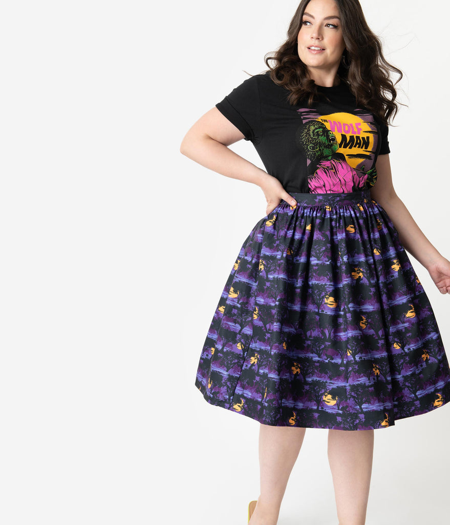 Universal Monsters x Unique Vintage Plus Size The Wolf Man Print High Waist Circle Swing Skirt