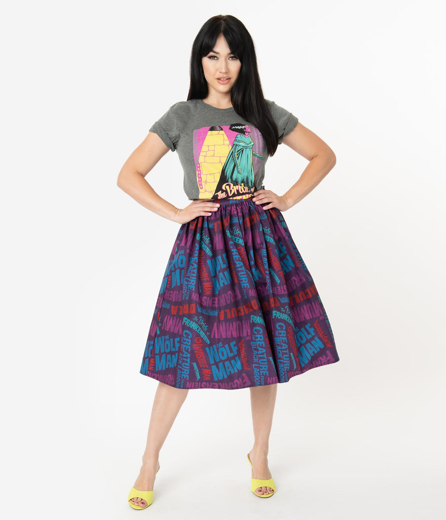Universal Monsters x Unique Vintage Monster Movie Title Print Swing Skirt