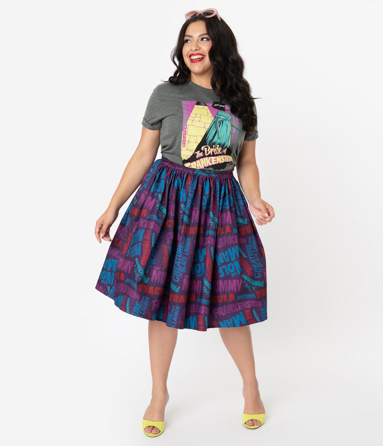 Universal Monsters x Unique Vintage Plus Size Monster Movie Title Print Swing Skirt
