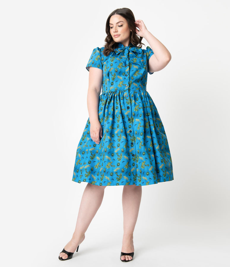 Universal Monsters x Unique Vintage Plus Size 1950s Creature From The Black Lagoon Print Swing Dress