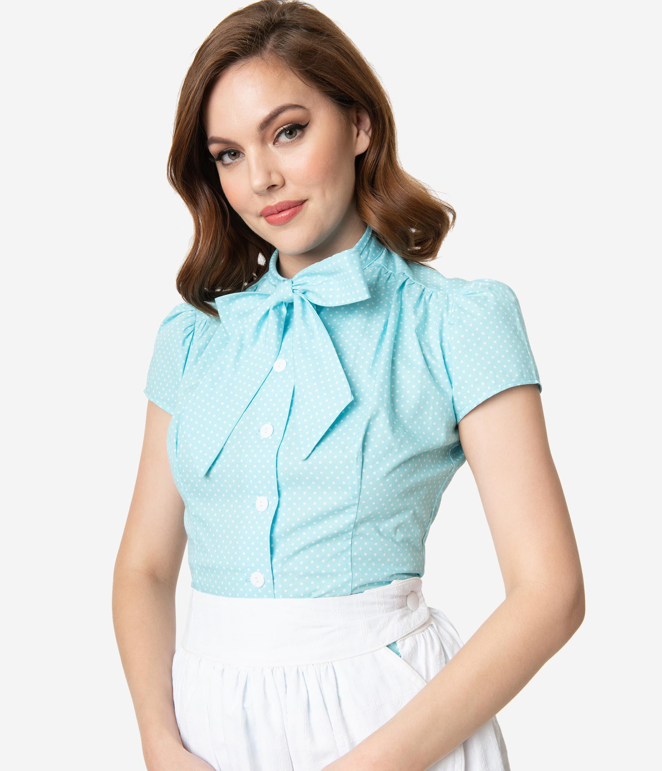 1950s Rockabilly & Pin Up Tops, Blouses, Shirts Retro Style Aqua  White Pin Dot Cap Sleeve Estelle Blouse $68.00 AT vintagedancer.com