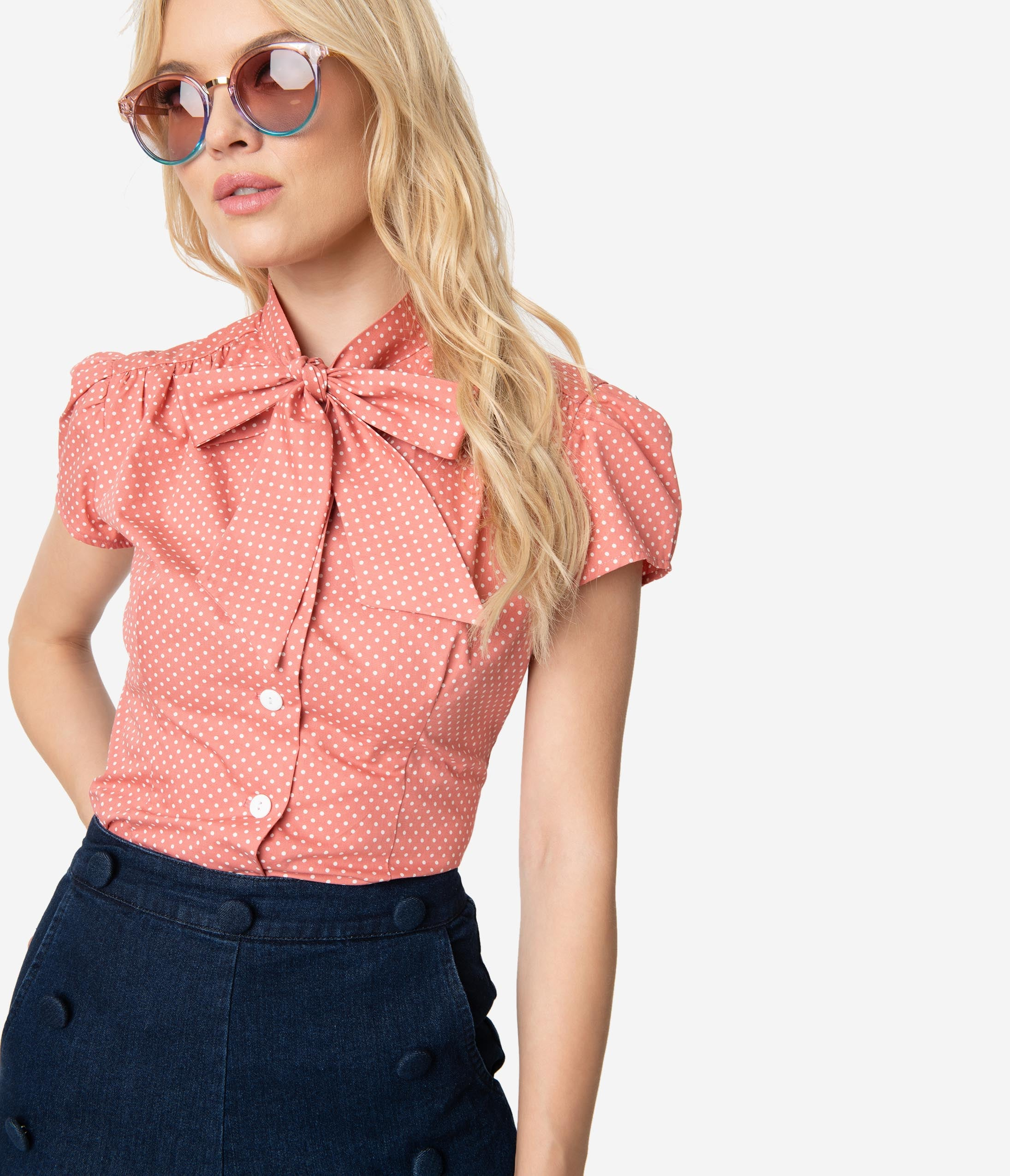 Women's 70s Shirts, Blouses, Hippie Tops Retro Solid Rose Pink  White Pin Dot Cap Sleeve Estelle Blouse $68.00 AT vintagedancer.com