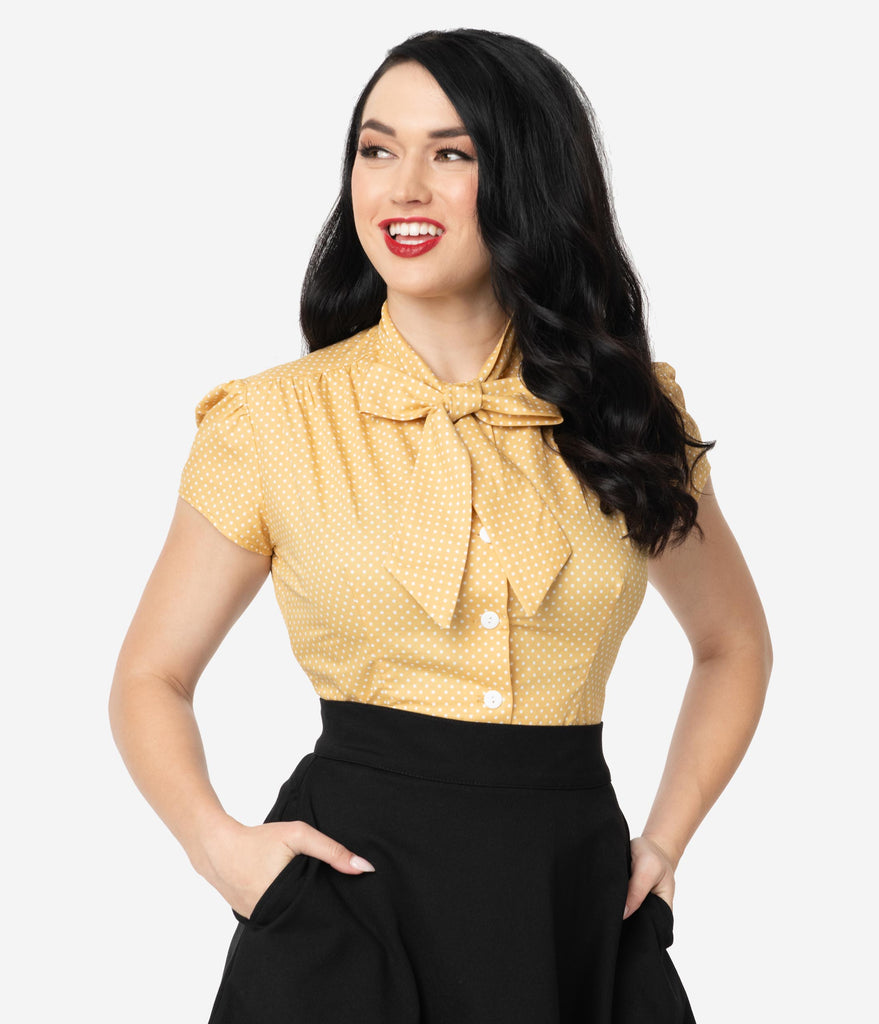 Retro Style Marigold Yellow & White Pin Dot Cap Sleeve Estelle Blouse