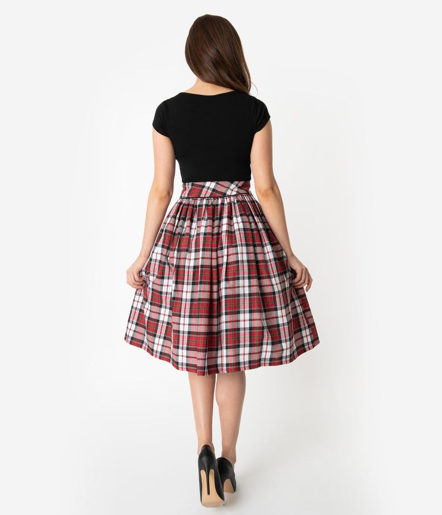 Unique Vintage Red & Black Plaid Scalloped Button Romero Swing Skirt