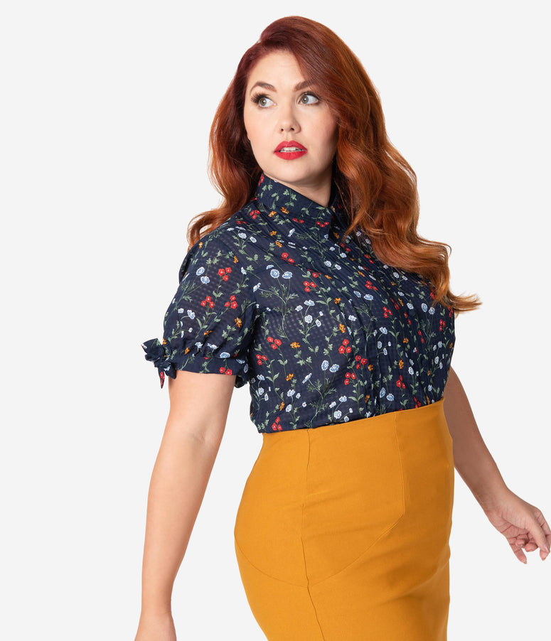 Unique Vintage Plus Size Navy Floral Button Up Short Sleeve Colvin Blouse