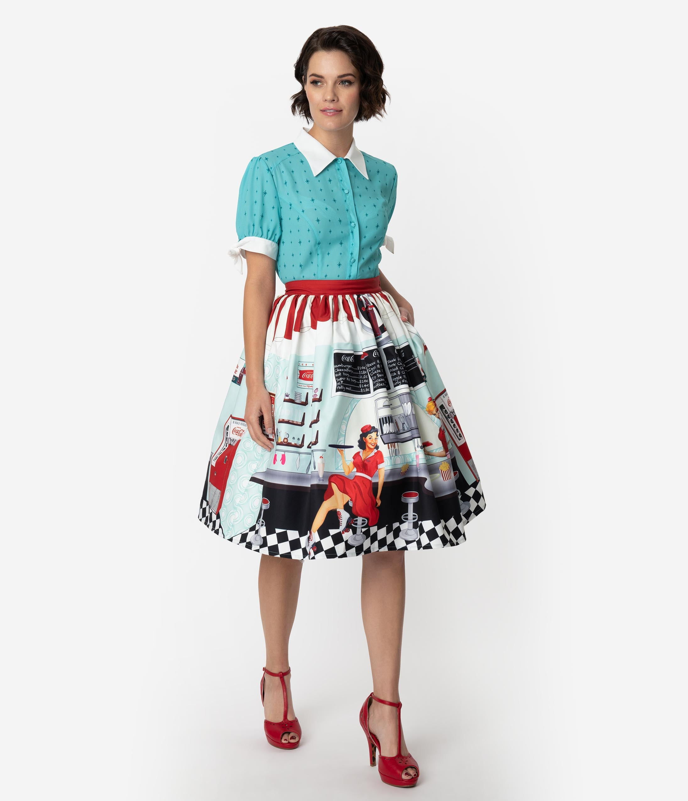 Retro Skirts: Vintage, Pencil, Circle, & Plus Sizes Coca-Cola Collection By Unique Vintage 1950S Diner Scene High Waist Swing Skirt $88.00 AT vintagedancer.com