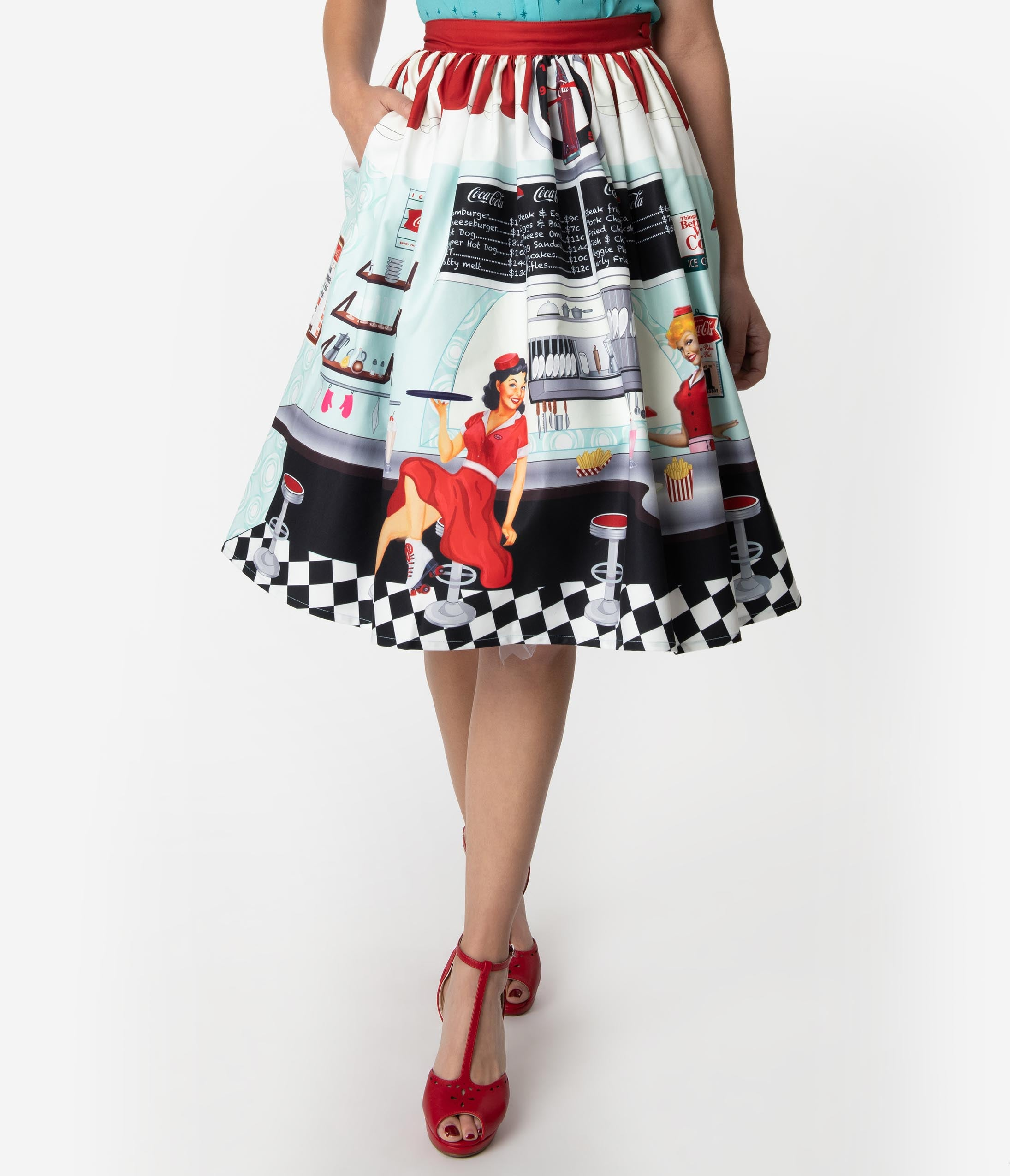 10f2208476 Coca-Cola Collection by Unique Vintage 1950s Diner Scene High Waist Swing  Skirt