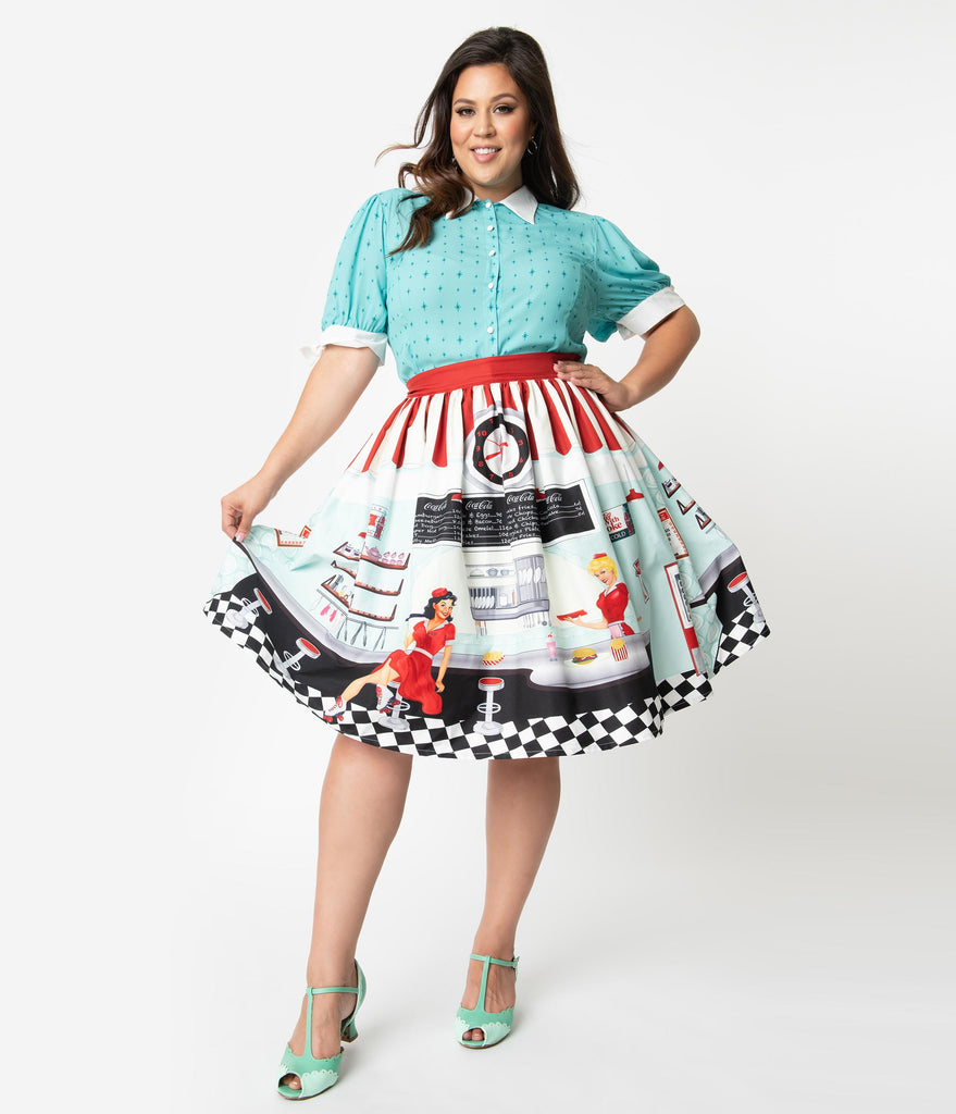 Coca-Cola Collection by Unique Vintage Plus Size 1950s Diner Scene High  Waist Swing Skirt