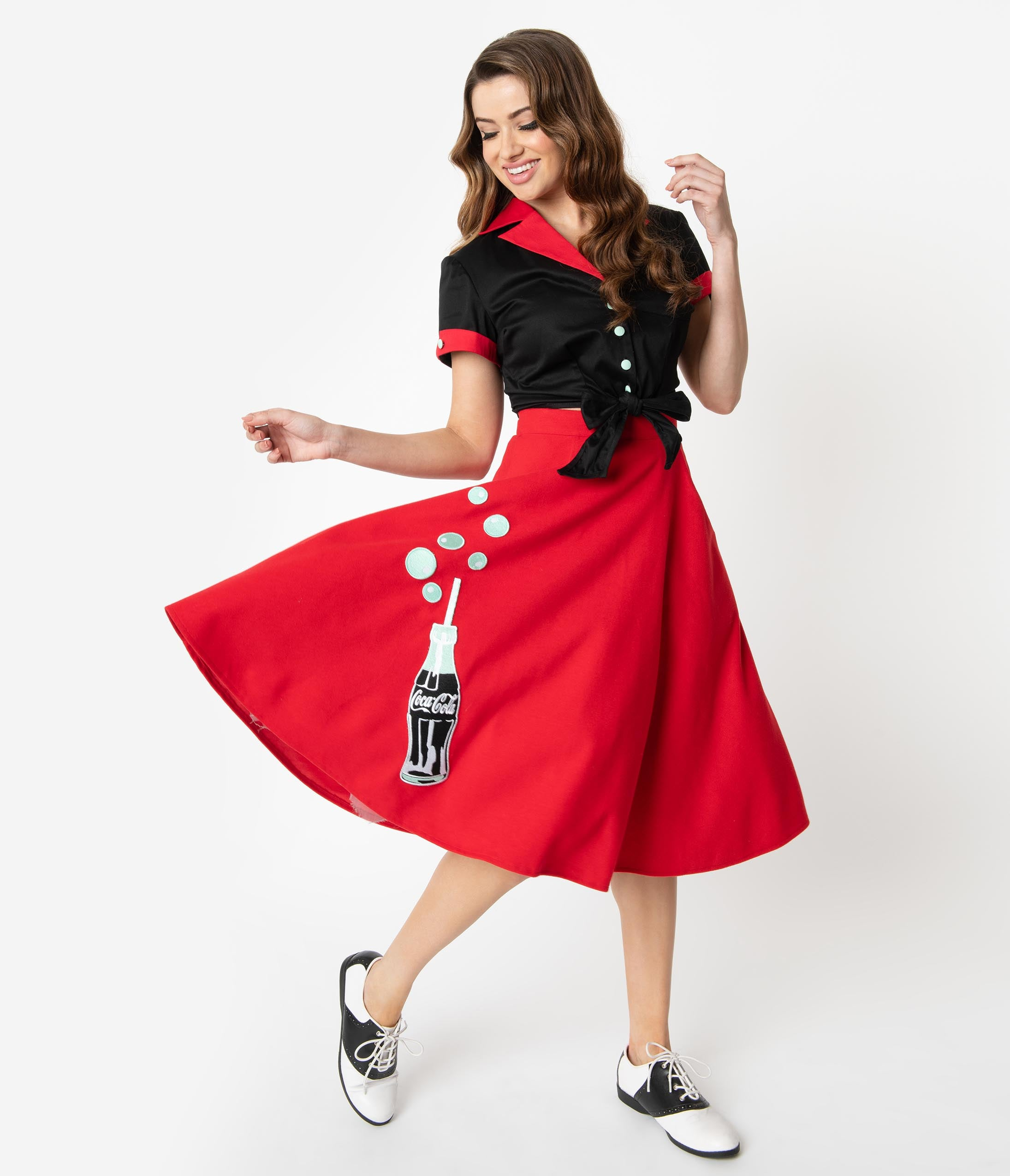 Retro Skirts: Vintage, Pencil, Circle, & Plus Sizes Coca-Cola Collection By Unique Vintage 1950S Red Cola Bottle Bubbly Swing Skirt $78.00 AT vintagedancer.com