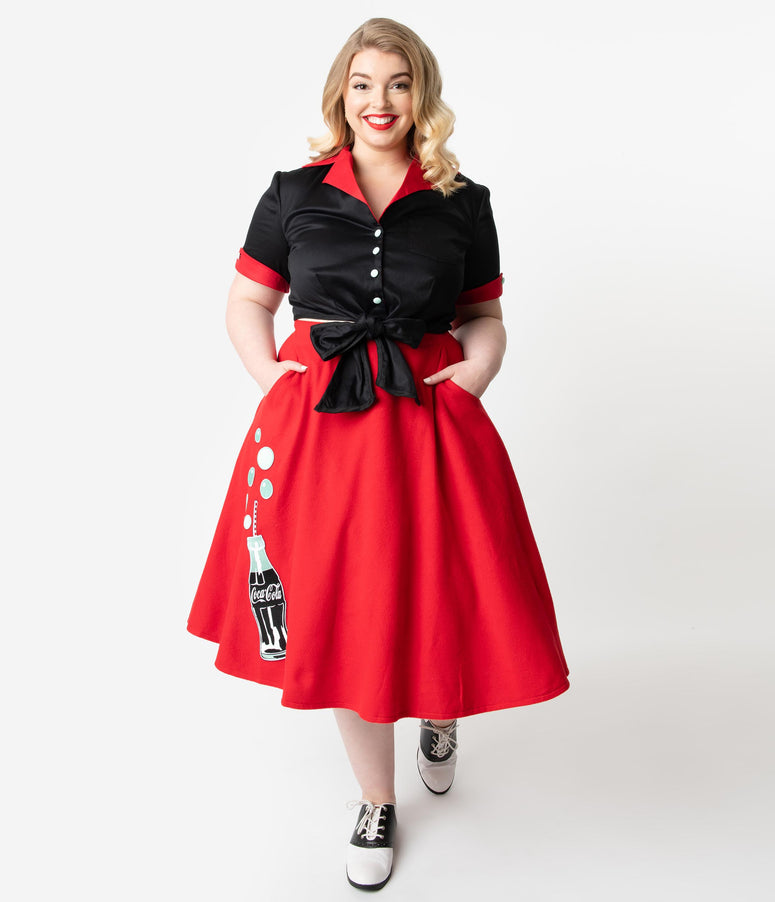 Coca-Cola Collection by Unique Vintage Plus Size 1950s Red Cola Bottle Bubbly Swing Skirt