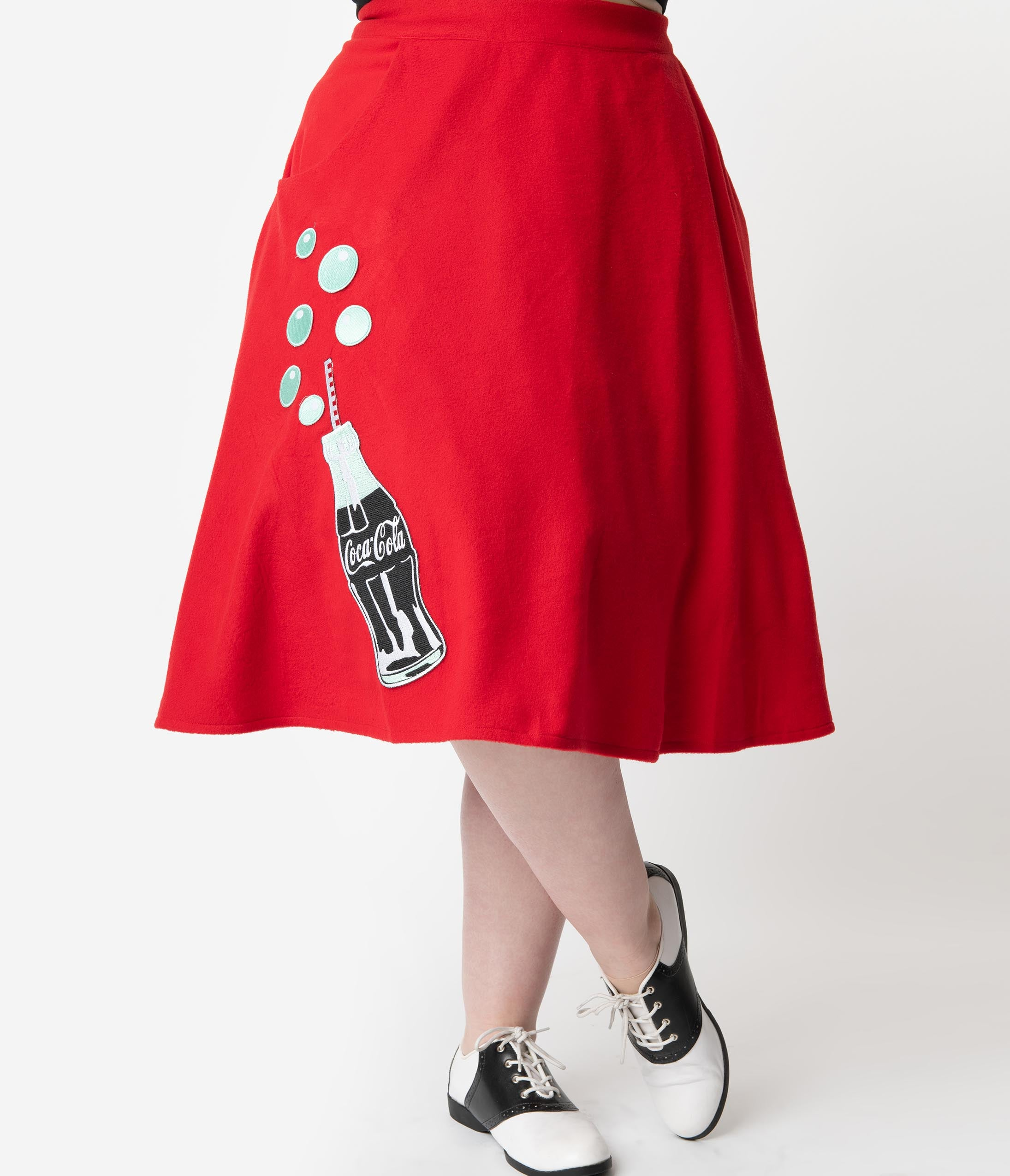 1d703eb1f Coca-Cola Collection by Unique Vintage Plus Size 1950s Red Cola Bottle  Bubbly Swing Skirt