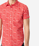 Coca-Cola Collection by Unique Vintage Red & Ivory Coca-Cola Print Button Up Mens Shirt
