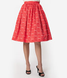 Coca-Cola Collection by Unique Vintage Red & Ivory Coca-Cola Print High Waist Circle Swing Skirt