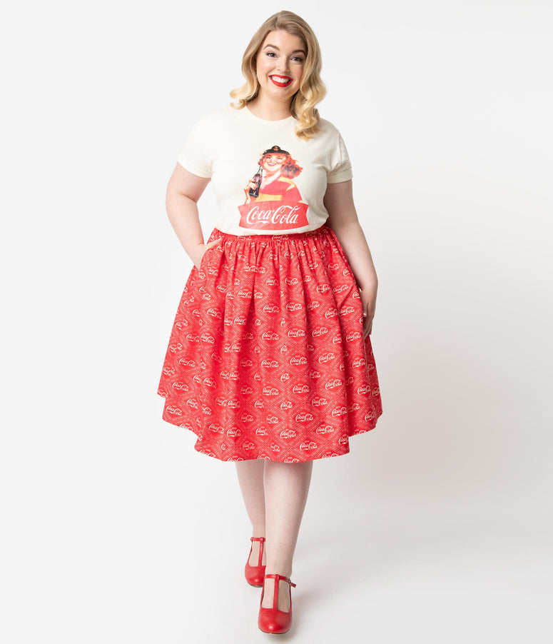 Coca-Cola Collection by Unique Vintage Plus Size Red & Ivory Coca-Cola Print High Waist Circle Swing Skirt