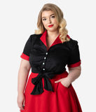 Coca-Cola Collection by Unique Vintage Plus Size 1950s Black & Red Diner Graphic Cappie Crop Blouse
