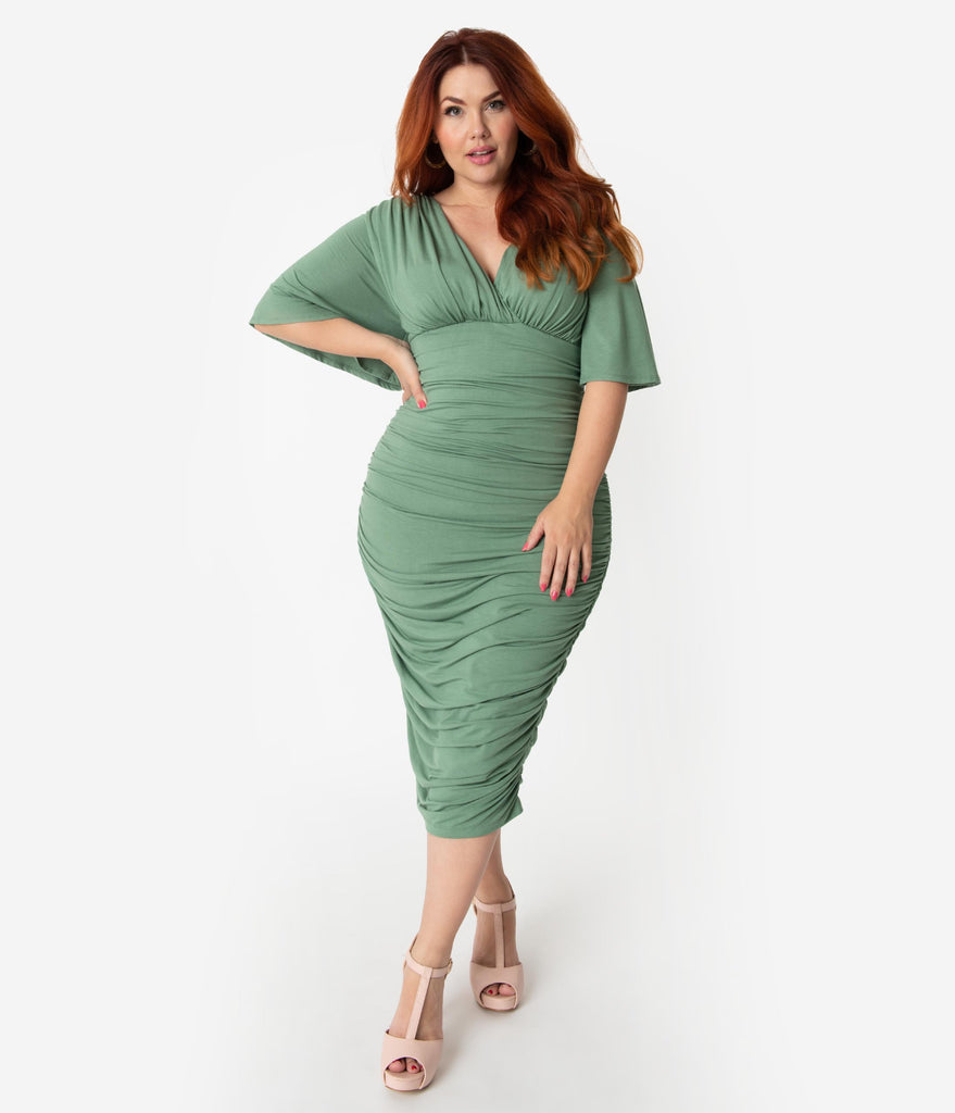 Plus Size Vintage Style Sage Ruched Flutter Sleeve Rumor Wiggle Dress