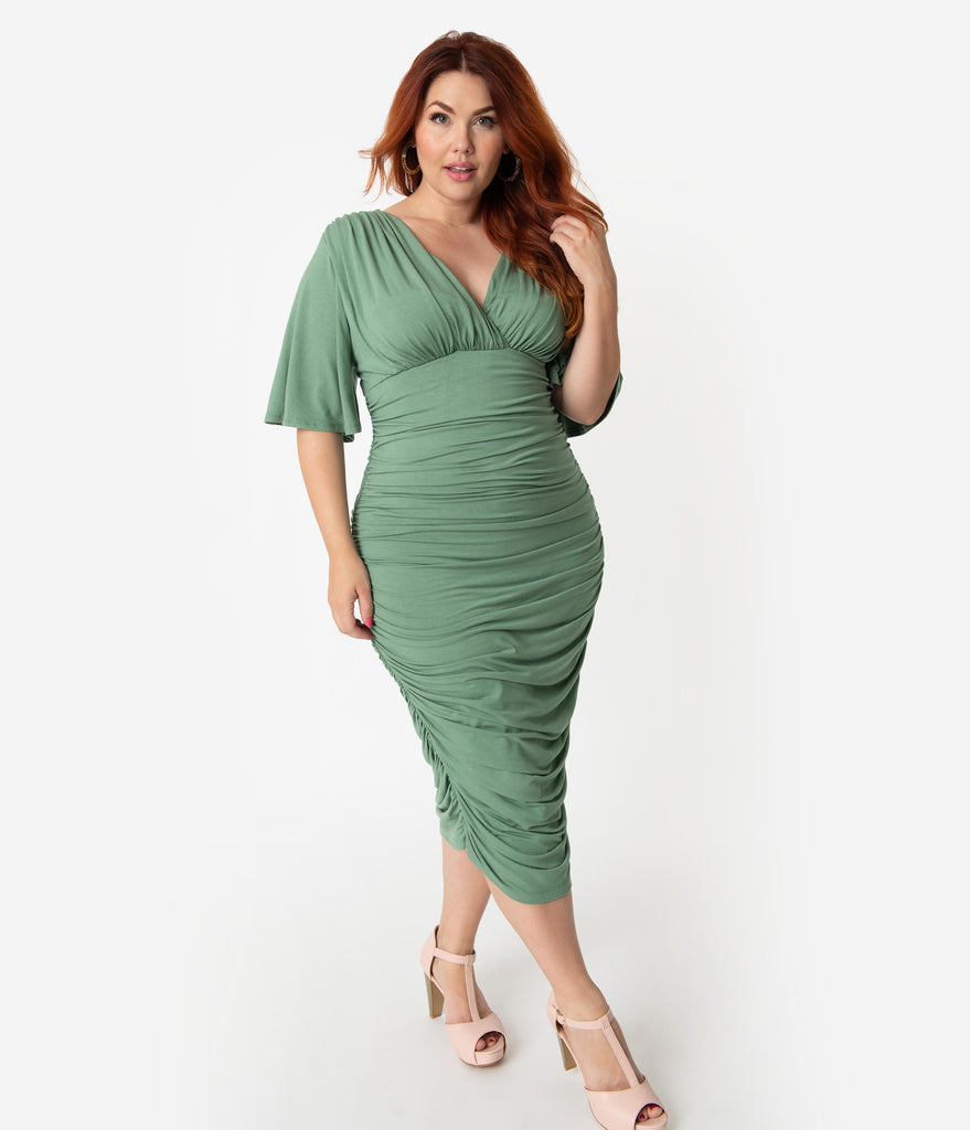 53a2e26b1c1 ... Plus Size Vintage Style Sage Ruched Flutter Sleeve Rumor Wiggle Dress