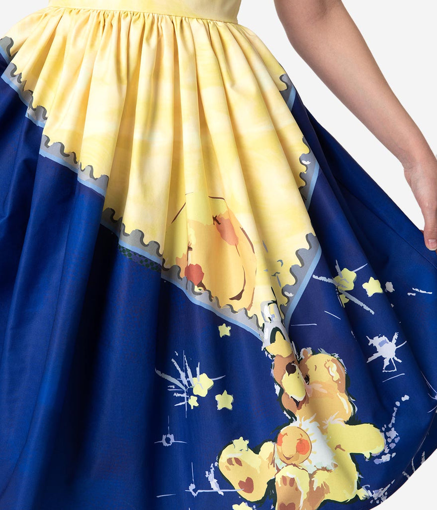 Care Bears x Unique Vintage Blue & Yellow Funshine Bear Print Darcy Swing Dress