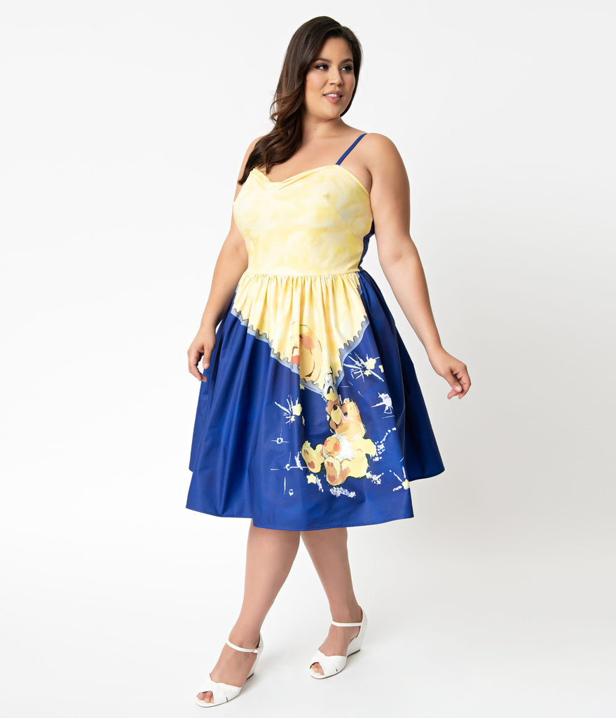 Care Bears x Unique Vintage Plus Size Blue & Yellow Funshine Bear Print Darcy Swing Dress
