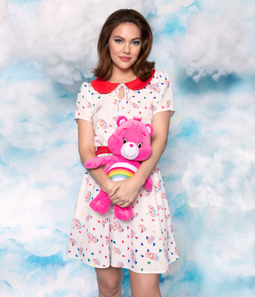 Care Bears x Unique Vintage White Cheer Bear Print Care-A-Lot Flare Dress
