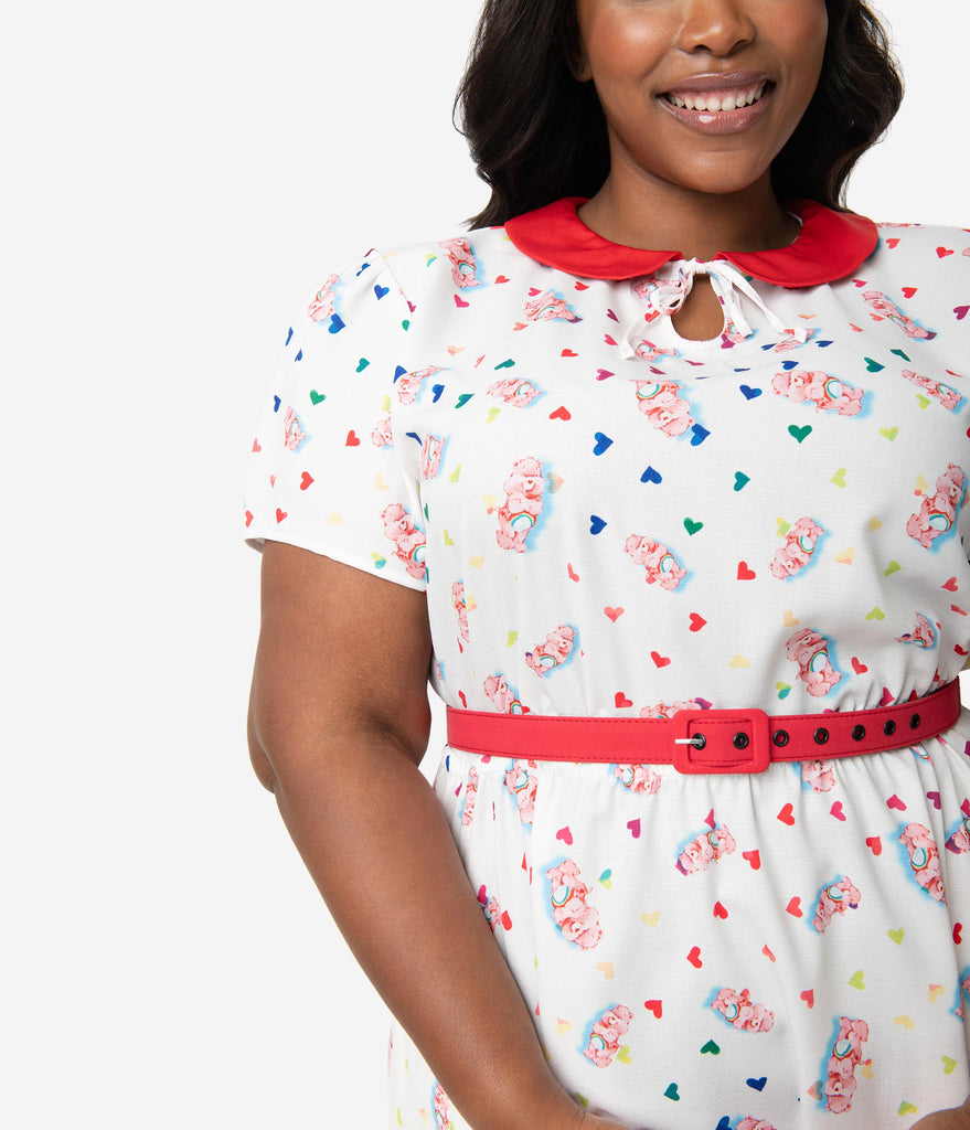 Care Bears x Unique Vintage Plus Size White Cheer Bear Print Care-A-Lot Flare Dress