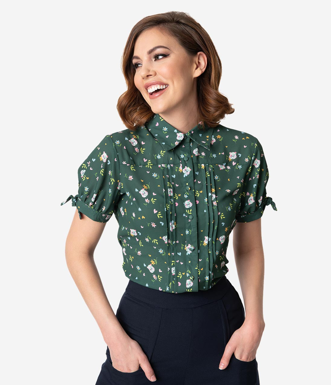 1bae0b99d2c867 Care Bears x Unique Vintage Emerald Green Care Bear Print Colvin Blouse