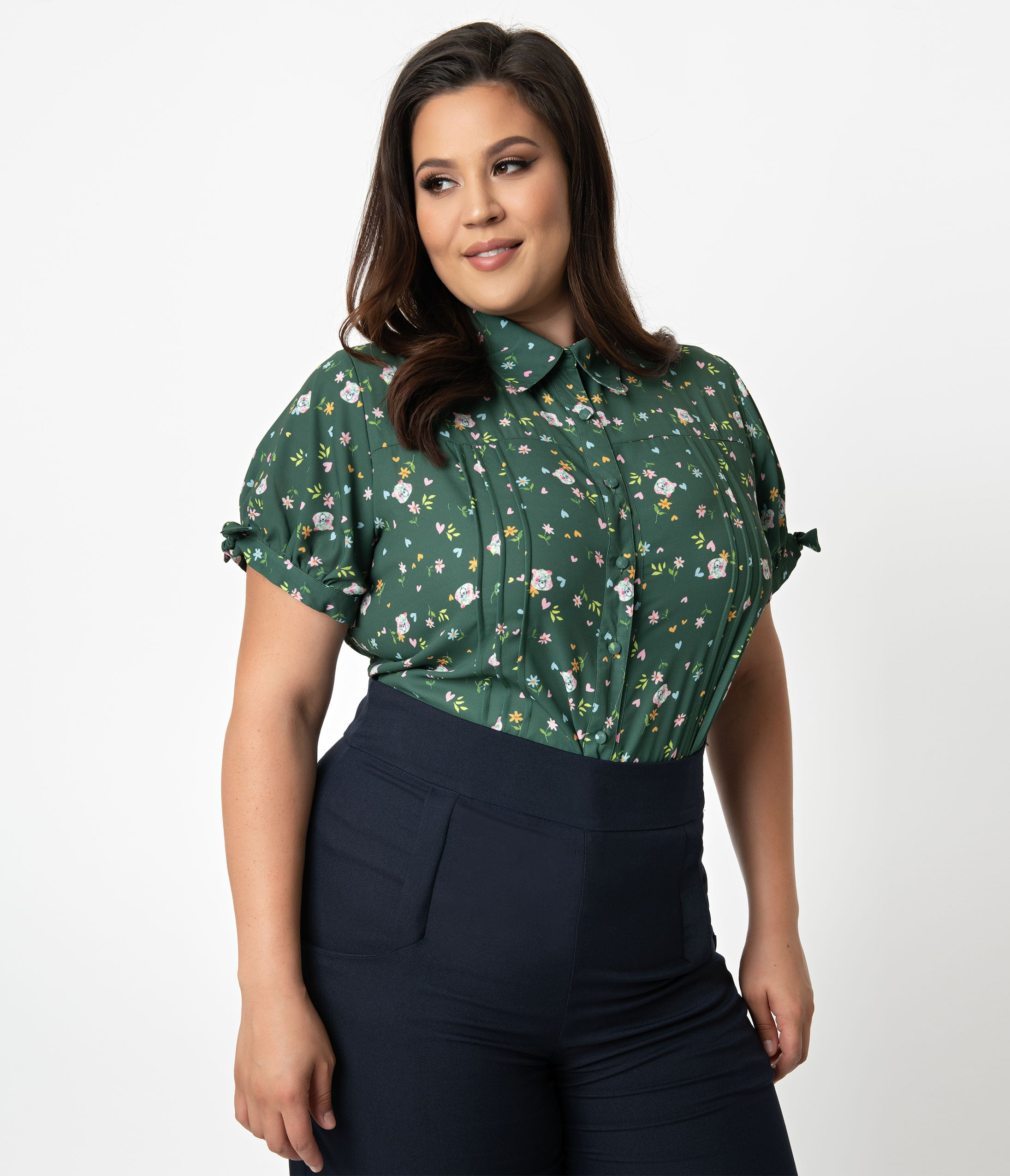 d7de39471f9314 Care Bears x Unique Vintage Plus Size Emerald Green Care Bear Print Colvin  Blouse