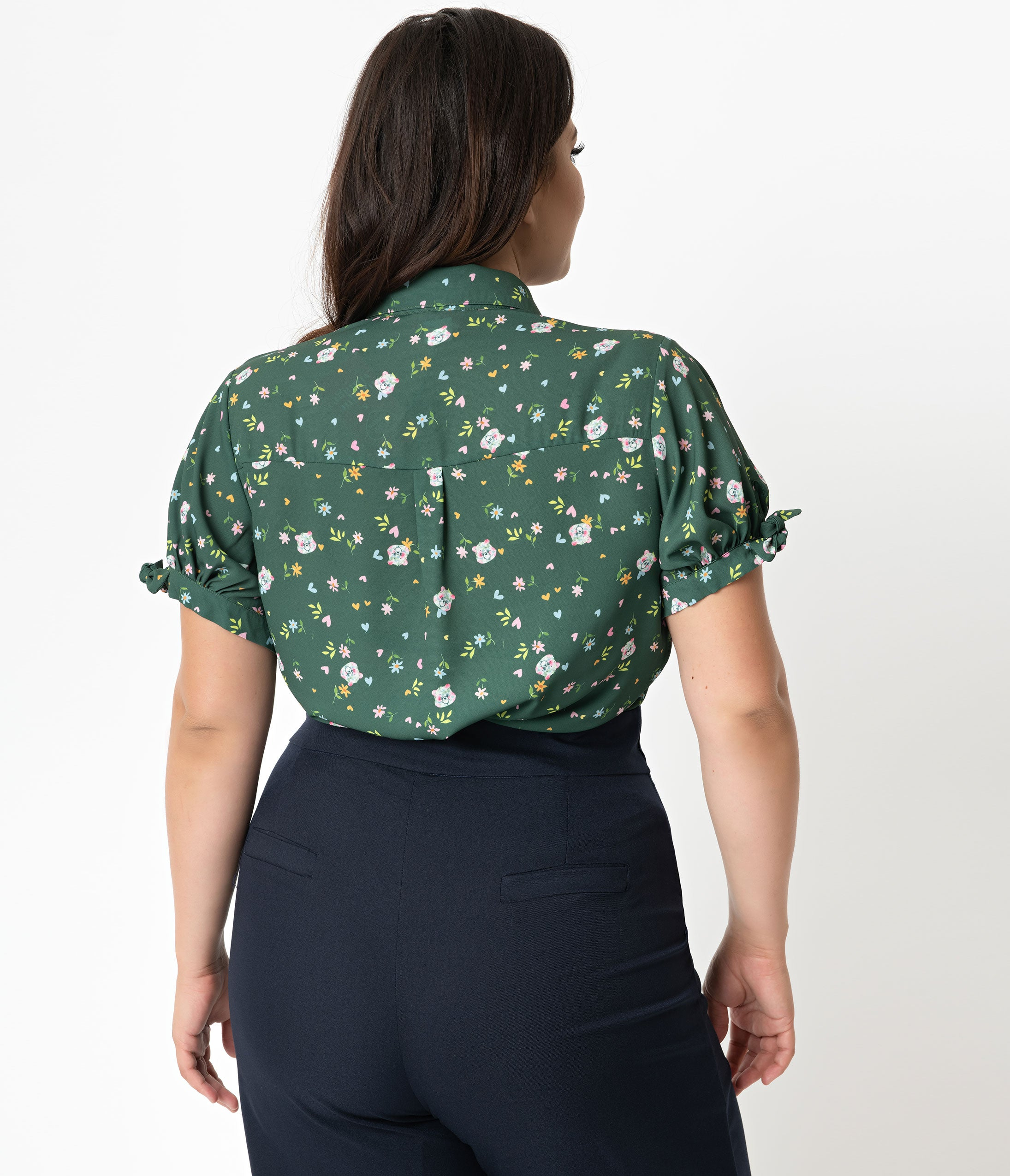 68df5a746 Care Bears x Unique Vintage Plus Size Emerald Green Care Bear Print Colvin  Blouse