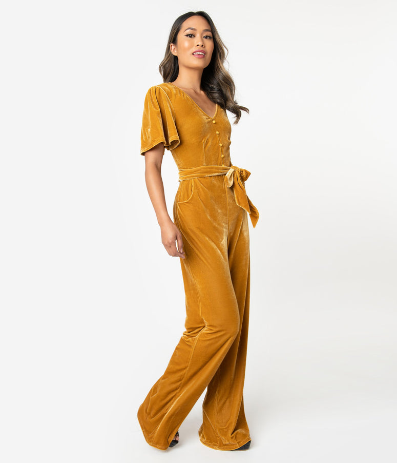 Unique Vintage 1970s Mustard Yellow Velvet Short Sleeve Heddy Jumpsuit